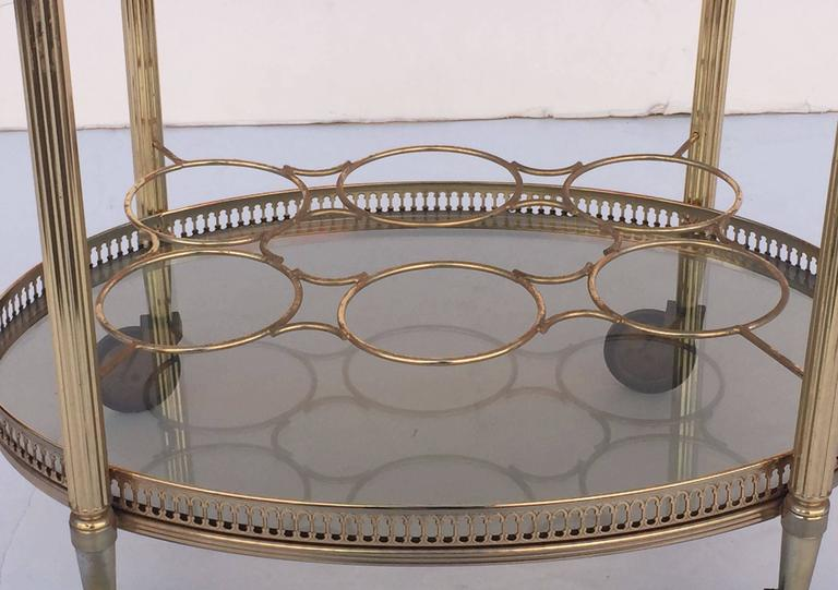 French Oval Drinks Cart of Brass and Smoked Glass with Serving Tray Top 9