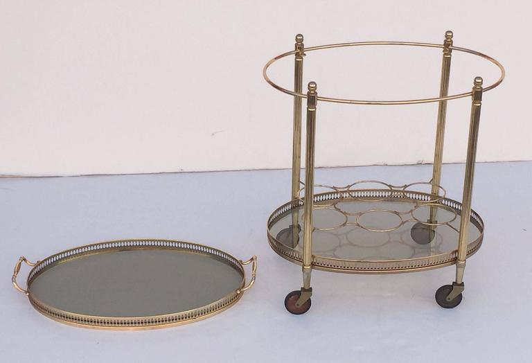 French Oval Drinks Cart of Brass and Smoked Glass with Serving Tray Top 6