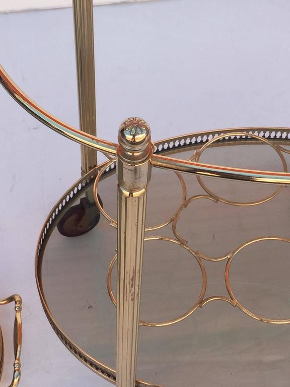 French Oval Drinks Cart of Brass and Smoked Glass with Serving Tray Top 8