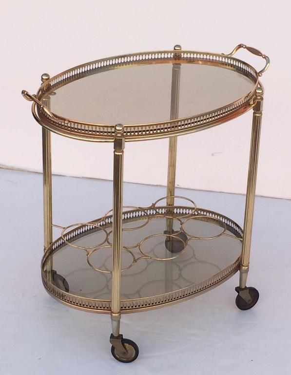 French Oval Drinks Cart of Brass and Smoked Glass with Serving Tray Top 3