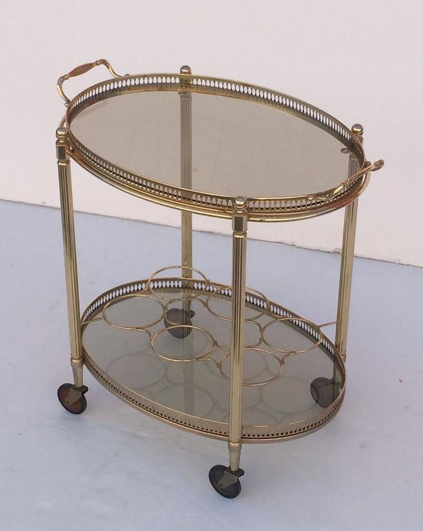 French Oval Drinks Cart of Brass and Smoked Glass with Serving Tray Top 4