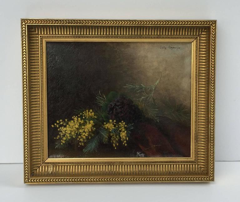 A fine French oil painting on canvas in a giltwood frame, featuring a still life of flowers.  Signed: Castex-Degrange.