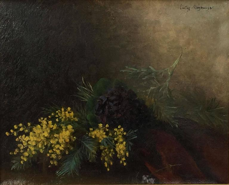 French Framed Oil Painting, Still Life by Adolphe Louis Castex-Degrange In Good Condition For Sale In Austin, TX