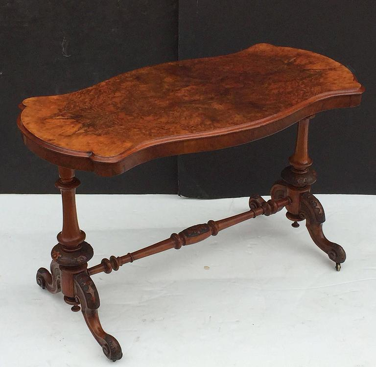 English Library or Sofa Table of Burr Walnut 4