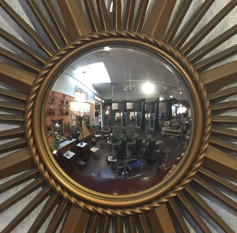 French Gilt Metal Sunburst or Starburst Mirror by Chaty Vallauris In Excellent Condition For Sale In Austin, TX