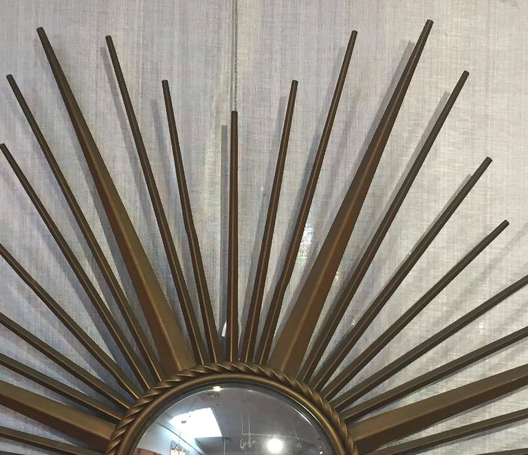 20th Century French Gilt Metal Sunburst or Starburst Mirror by Chaty Vallauris For Sale