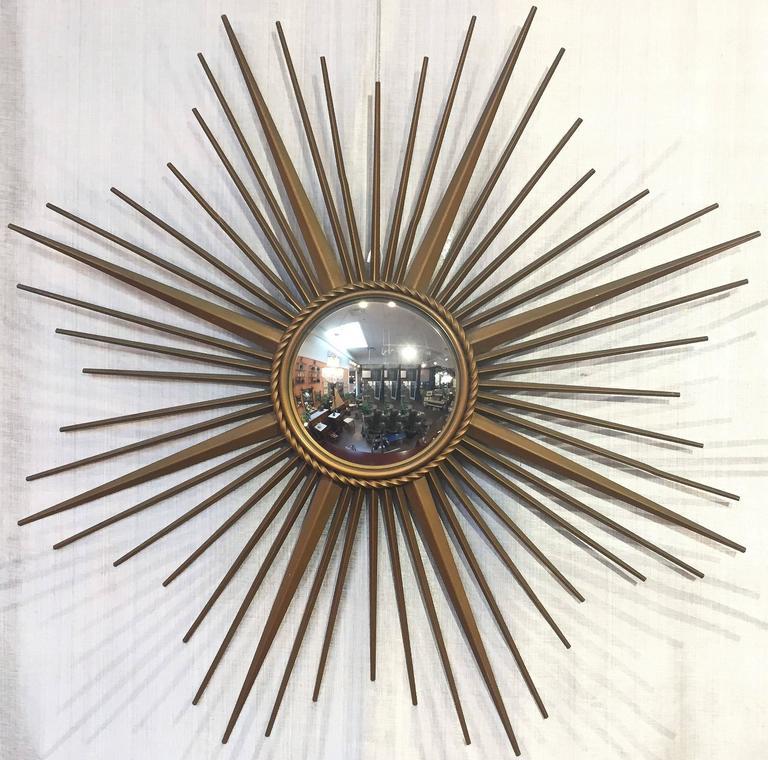Mid-Century Modern French Gilt Metal Sunburst or Starburst Mirror by Chaty Vallauris For Sale