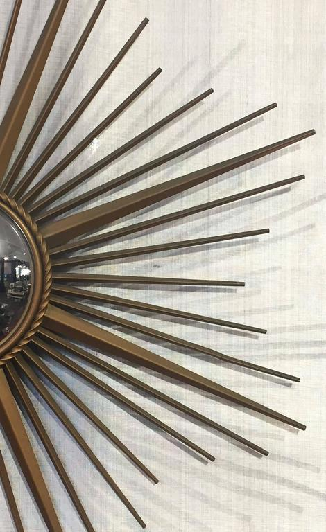 French Gilt Metal Sunburst or Starburst Mirror by Chaty Vallauris For Sale 2