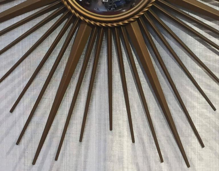 French Gilt Metal Sunburst or Starburst Mirror by Chaty Vallauris For Sale 3