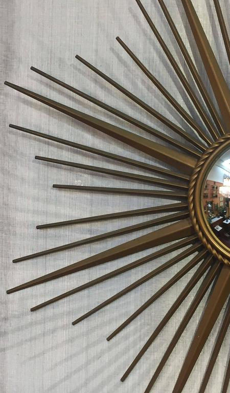 French Gilt Metal Sunburst or Starburst Mirror by Chaty Vallauris For Sale 1