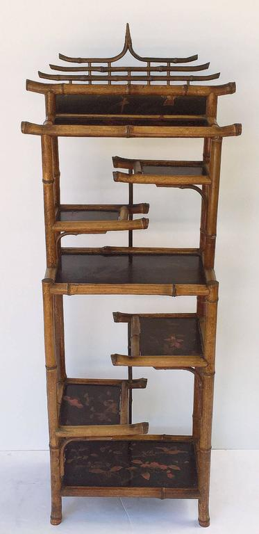 english bamboo etagere or shelves from the aesthetic movement era for sale at 1stdibs. Black Bedroom Furniture Sets. Home Design Ideas