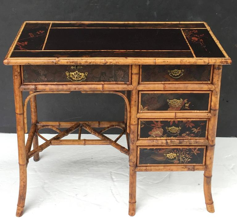 Aesthetic Movement English Bamboo Writing Desk With Leather Top And Lacquered Sides For