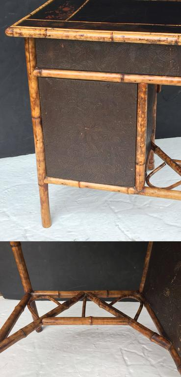 English Bamboo Writing Desk With Leather Top And Lacquered
