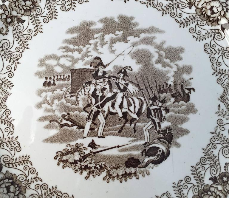 Glazed English Brown and White Plate, 'Texian Campaigne' by Thomas Walker For Sale