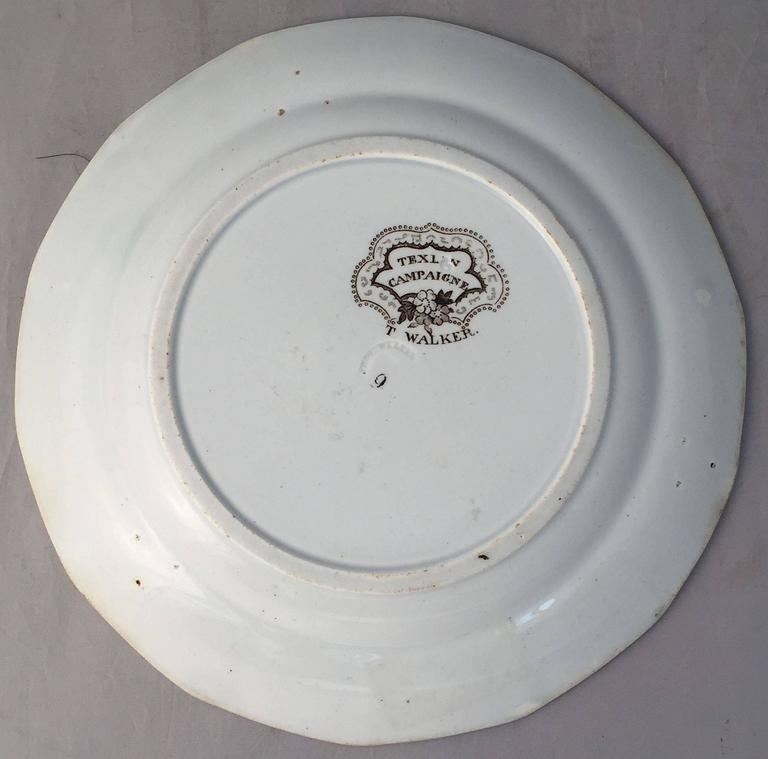 English Brown and White Plate, 'Texian Campaigne' by Thomas Walker 6