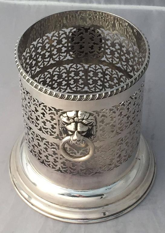 Silver Plate English Wine Bottle Holder or Coaster with Regency Lions For Sale