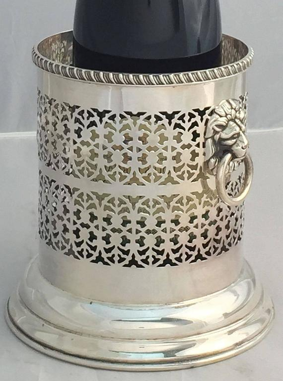 English Wine Bottle Holder or Coaster with Regency Lions For Sale 3