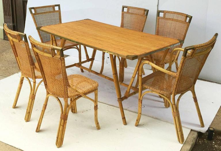 French Bamboo Table and Chairs Set 2
