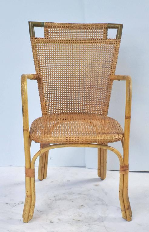 French Bamboo Table and Chairs Set 8