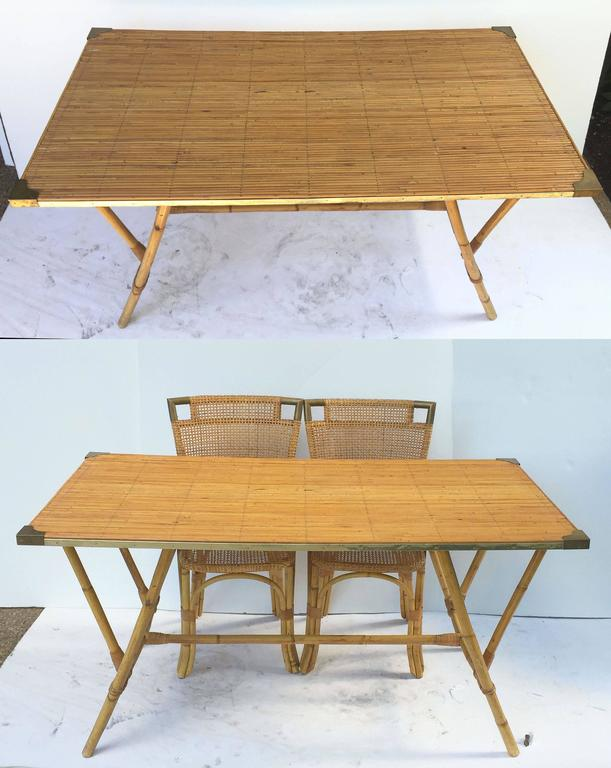 French Bamboo Table and Chairs Set 6