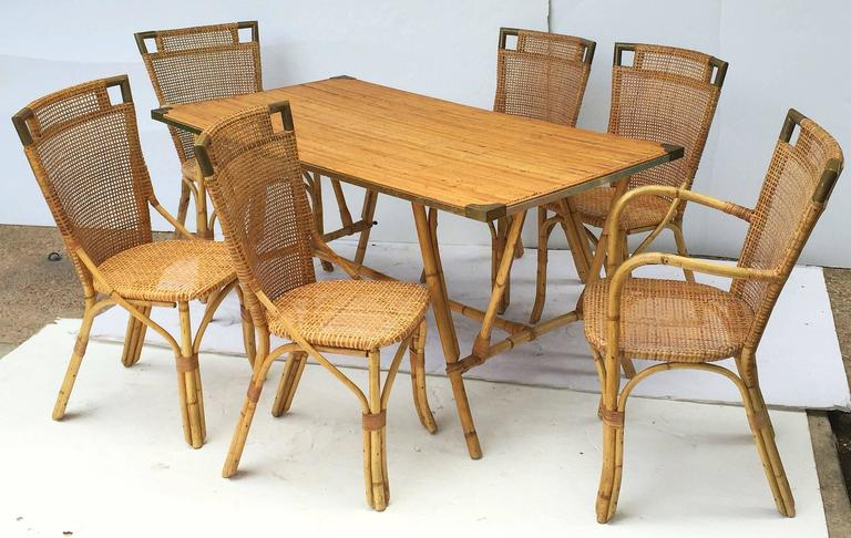 French Bamboo Table and Chairs Set 4