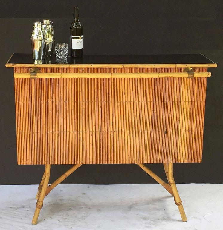 French Bamboo Bar for Serving with Black Lacquered Top 2