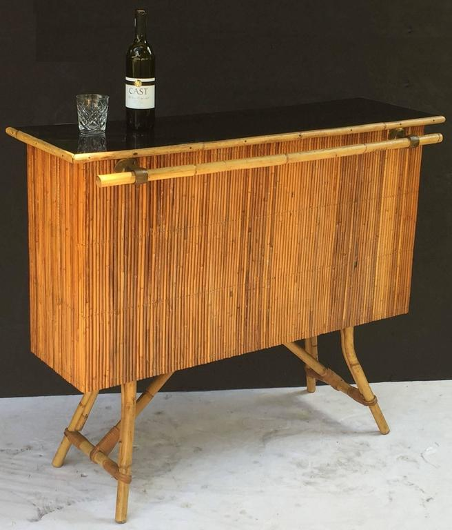 French Bamboo Bar for Serving with Black Lacquered Top 3