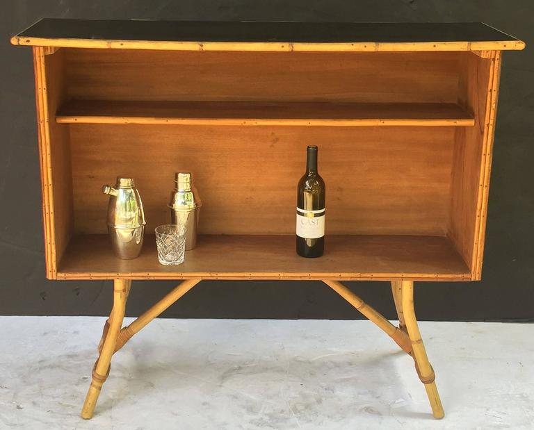 French Bamboo Bar for Serving with Black Lacquered Top 8