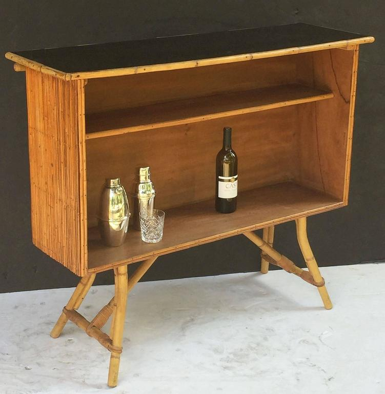 French Bamboo Bar for Serving with Black Lacquered Top 9