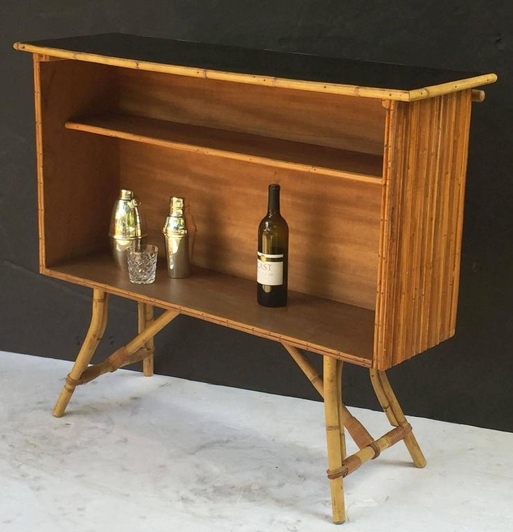 French Bamboo Bar for Serving with Black Lacquered Top 7