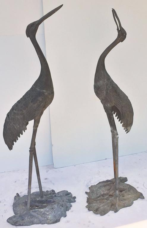 20th Century Pair of English Large Ornamental Lead Herons or Water Birds for the Garden For Sale