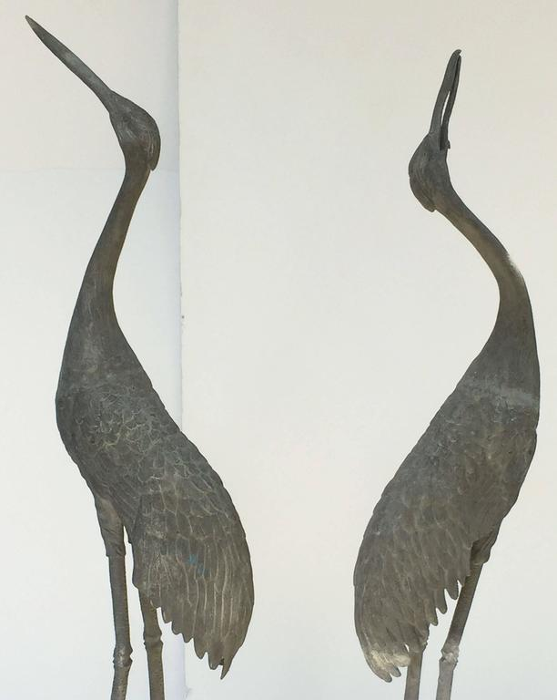 Pair of English Large Ornamental Lead Herons or Water Birds for the Garden For Sale 2