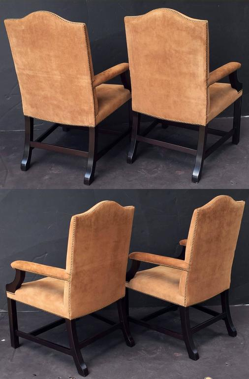 Pair of English Library Armchairs with Suede Leather Covers by George Smith 7