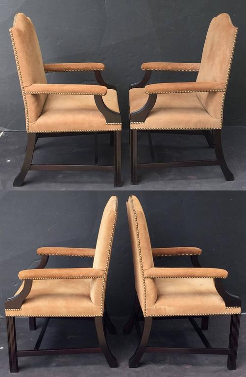 Pair of English Library Armchairs with Suede Leather Covers by George Smith 6
