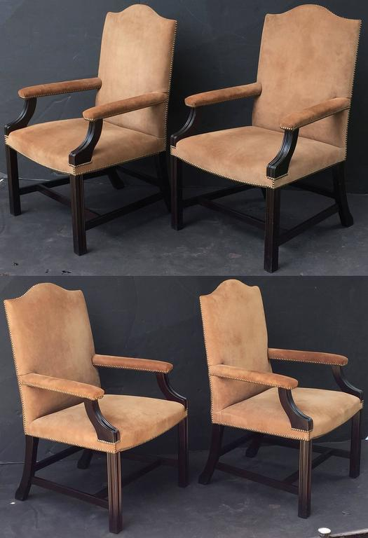 Pair of English Library Armchairs with Suede Leather Covers by George Smith 5