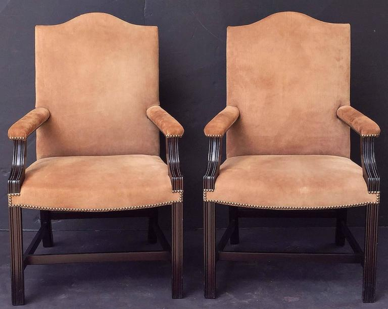 Pair of English Library Armchairs with Suede Leather Covers by George Smith 2
