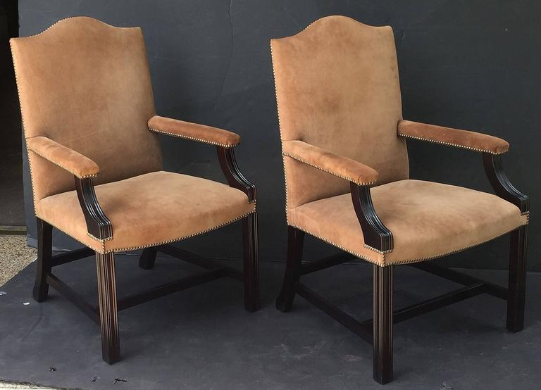 Pair of English Library Armchairs with Suede Leather Covers by George Smith 3
