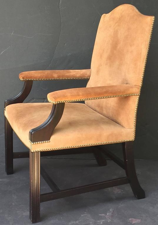 Pair of English Library Armchairs with Suede Leather Covers by George Smith 4