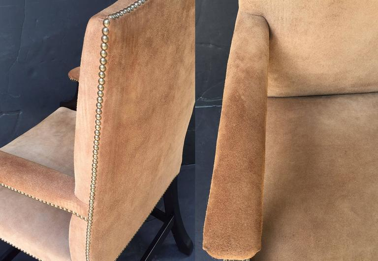 Pair of English Library Armchairs with Suede Leather Covers by George Smith 9