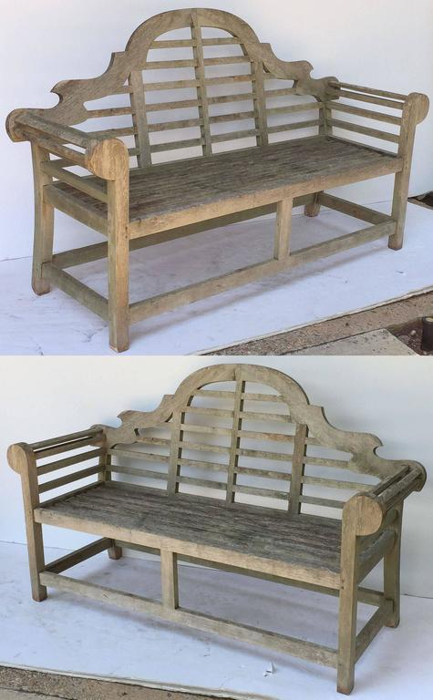 Pair of Lutyens Style Garden Bench Seats of Teak 2