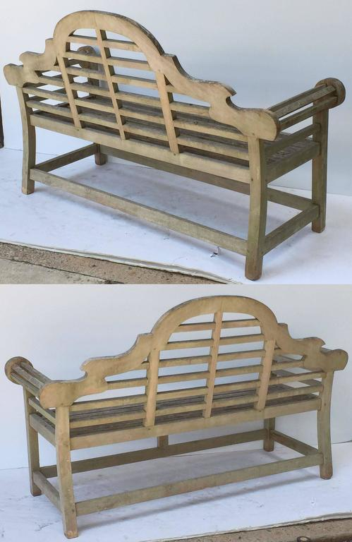 Pair of Lutyens Style Garden Bench Seats of Teak 3