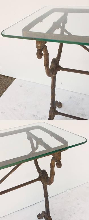 Pair of English Pub or Bistro Tables of Cast Iron with Glass Tops 9