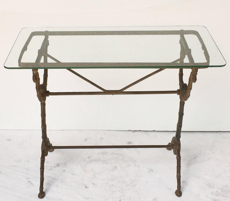 Pair of English Pub or Bistro Tables of Cast Iron with Glass Tops 3