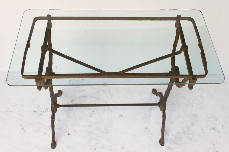Pair of English Pub or Bistro Tables of Cast Iron with Glass Tops 4