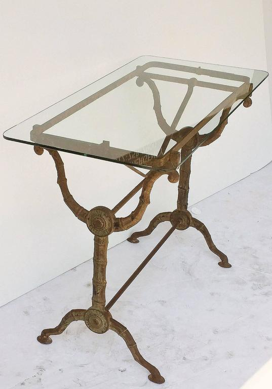 English Pub or Bistro Tables of Cast Iron with Glass Tops 'Individually Priced' For Sale 2
