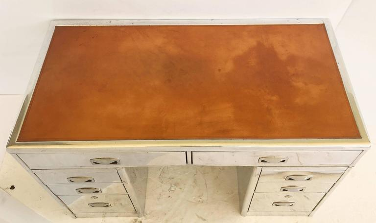 English Marine or Nautical Pedestal Desk of Polished Aluminum with Leather Top 5