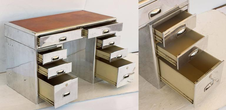 English Marine or Nautical Pedestal Desk of Polished Aluminum with Leather Top 8