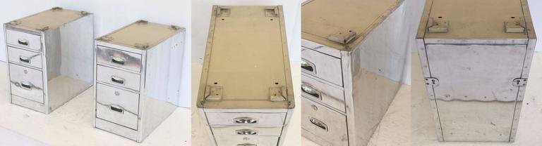 English Marine or Nautical Pedestal Desk of Polished Aluminum with Leather Top 9