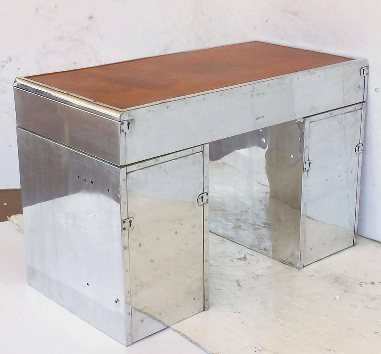English Marine or Nautical Pedestal Desk of Polished Aluminum with Leather Top 7