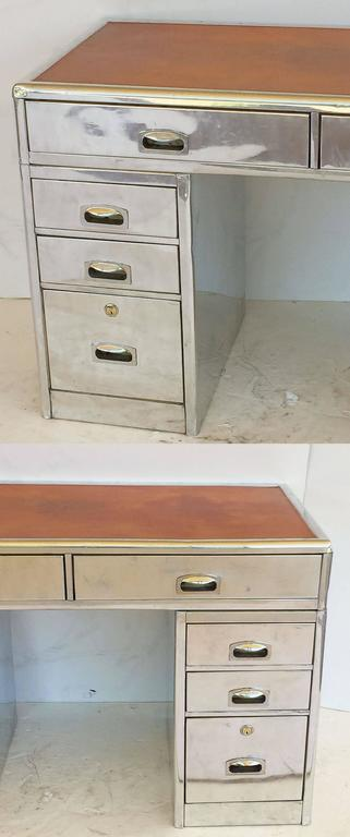 English Marine or Nautical Pedestal Desk of Polished Aluminum with Leather Top 6